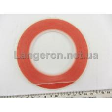 Скотч двухсторонний температуростойкий прозрачный - красный 3 мм *25