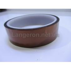 Скотч температуростойкий каптоновый прозрачно-желтый  25мм*33м