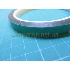 Скотч каптон термостойкий прозрачно-зеленый 10мм 33м